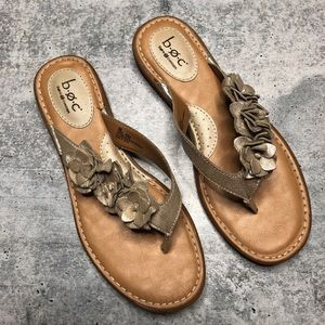 Born BOC Gold Leather Floral Sandals